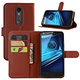DROID Turbo 2 Cases, Premium PU Leather Wallet Flip Case Cover with Stand Card Holder for Motorola Droid Turbo 2 Verizon / Moto X Force 2015 Smart Phone (Wallet - Brown)