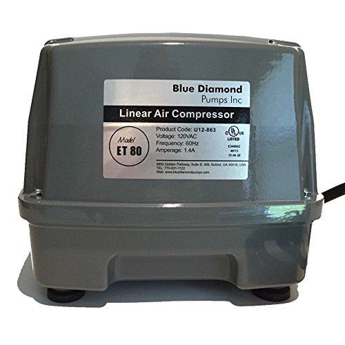 Blue Diamond ET 80 Septic or Pond Linear Diaphragm Air Pump (Best Residential Air Compressor)