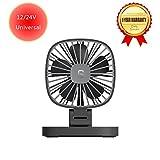 24V Car Fan 12V For Trucks SUV RV ATV Boat, Small Desk Fan Quiet Electric for Office Bedroom