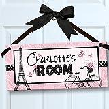 Oooh La La Paris Pretty in Pink Personalized Kids Door/Wall Sign, Room Décor, Bedroom Décor, Wall Accessory