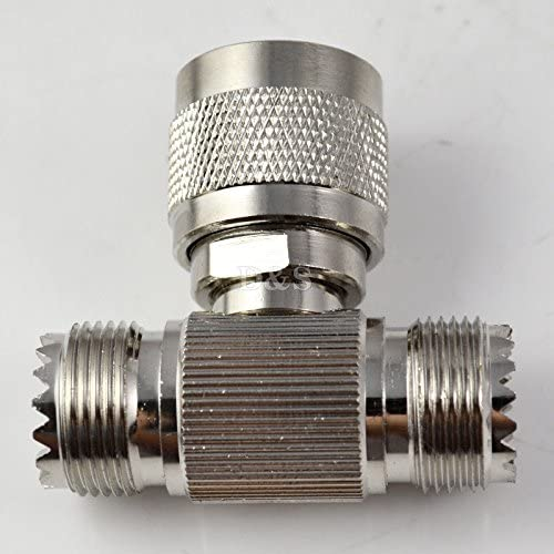UHF Type Male PL259 to 2 UHF Female SO239 Triple T RF Coaxial Adapter Connector