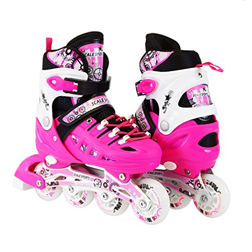 Scale Sports Kids Adjustable Inline Roller Blade Skates Pink...