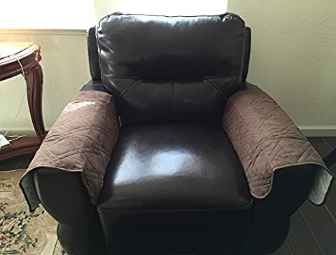 Quilted Bonded or Classic Micro Suede Sectional Sofa Arm Covers(Chocolate Brown, 2pcs-24x24