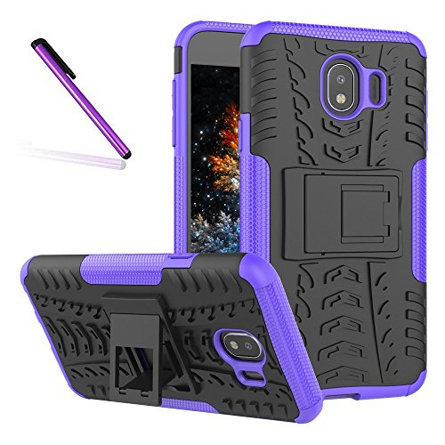 Tyre Pattern - J4 2018 Case, Tyre Pattern Design Heavy Duty Tough Armor Extreme Protection Case With Kickstand Shock Absorbing Detachable 2 in 1 Case Cover For Samsung Galaxy J4 2018 J400. Hyun Purple