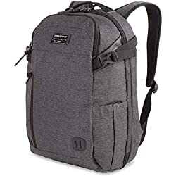 SWISSGEAR Getaway Weekend 15-inch Padded Laptop Backpack | Travel, Work, School | Men's and Women's - Heather Gray