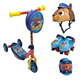Kids 3-Wheel Kick Scooter, Roller Skates With Knee Pads & Chase Multi Sport Helmet, Paw Patrol Themed, Bell Sports, Kids Scooters & Roller Skates, Outdoor, Physical, Balance, Coordination, Kids Age 3+