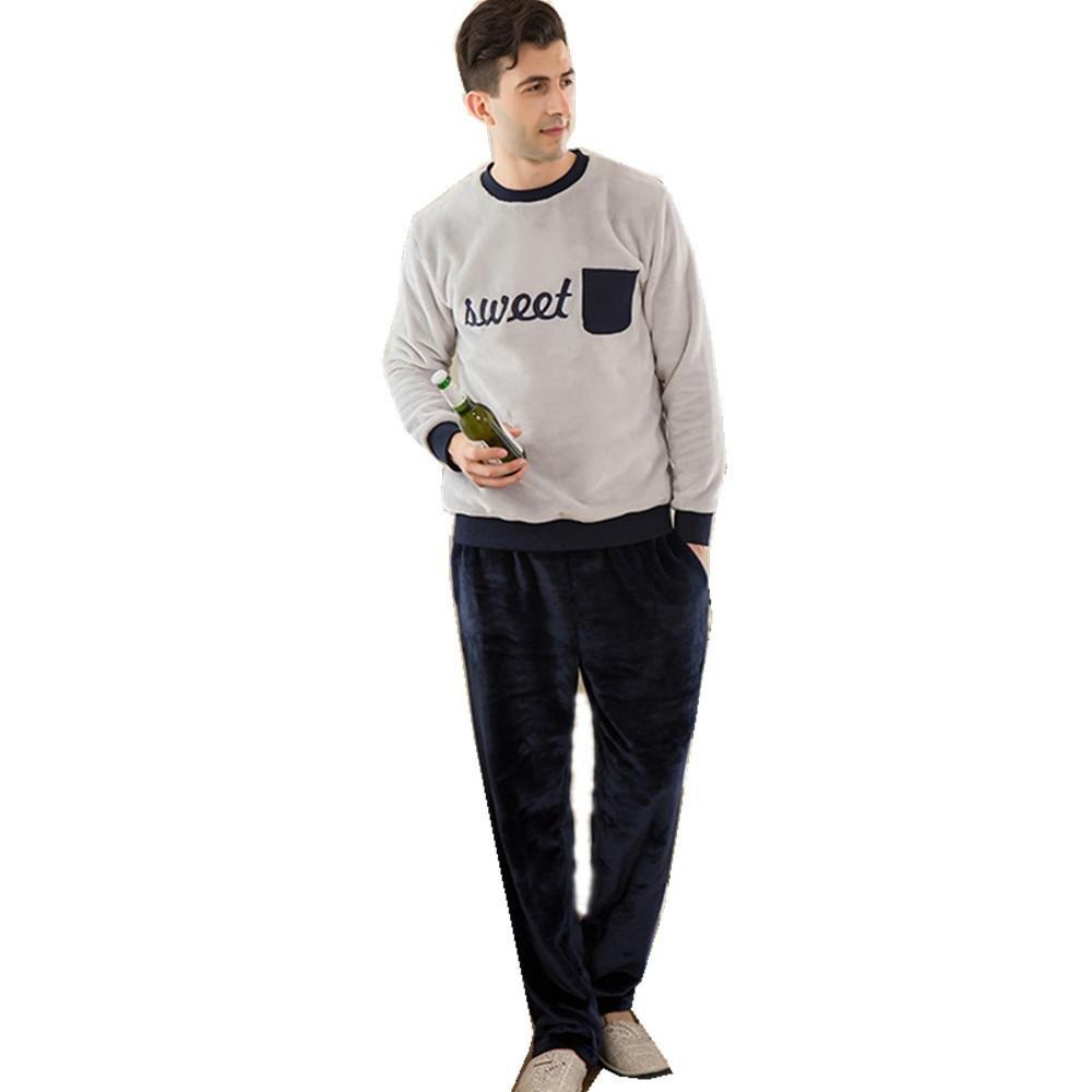 f00a0d909f Manga larga de los últimos hombres franela camisa de dormir de Jersey  engrosada pijama bata invierno