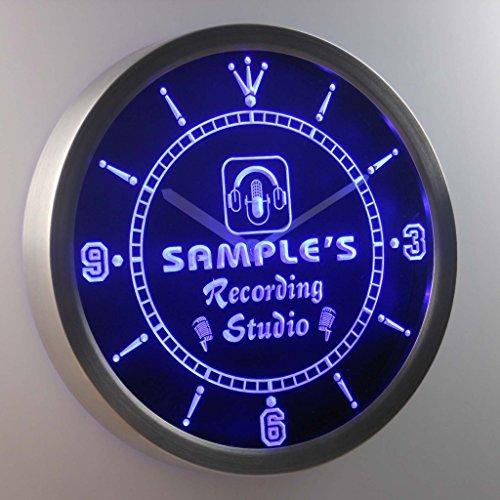 Recording Custom (ncqm-tm Name Personalized Custom Recording Studio Microphone Neon Sign LED Wall Clock)