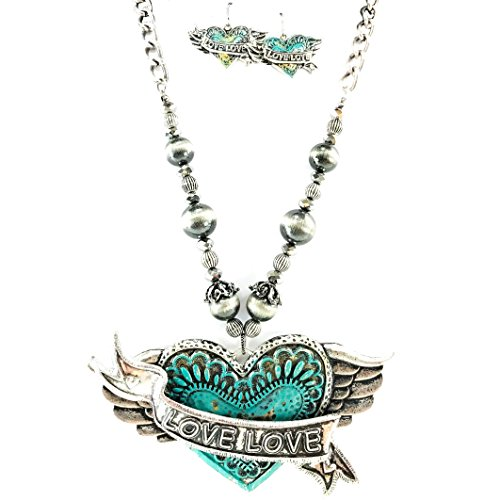Heart Earrings Western Necklace Pendant - Western Collection Vintage Patina Turquoise Rustic Love Winged Heart Arrow Pendant Necklace with Earrings (Love Heart)