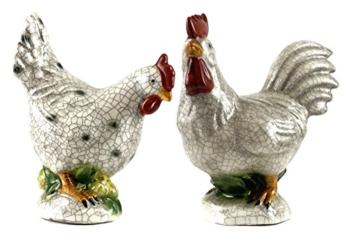 Creative Co-op Farmhouse Rooster & Chicken Decorative Figurines - Set of 2