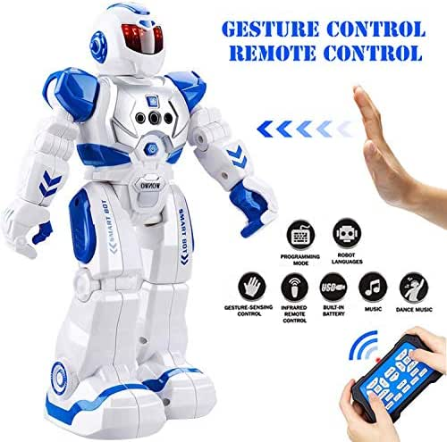Eholder Smart RC Robot Toy for Kids, Gesture Sensing Dancing Robot for Boys Girls, Smart Remote Control Robot Programmable Robotic Toy Gift Blue