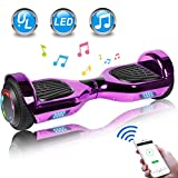 UNI-SUN 6.5' Chrome Hoverboard for Kids, Two Wheel Electric Scooter, Self Balancing Hoverboard with Bluetooth and LED Lights for Adults, UL 2272 Certified Hover Board(Bluetooth Purple)