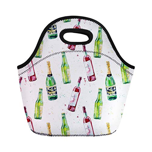 Semtomn Neoprene Lunch Tote Bag Watercolor of Champagne Wine and Beer Painting Alcohol Drink Reusable Cooler Bags Insulated Thermal Picnic Handbag for Travel,School,Outdoors,Work (Sparkling Watercolor)