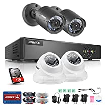 ANNKE CCTV Camera System 4CH 1080P Lite HD-TVI Security DVR System and (4) 720P 1.0MP Indoor/Outdoor IP66 Weatherproof Night Vision Complete Camera No HDD