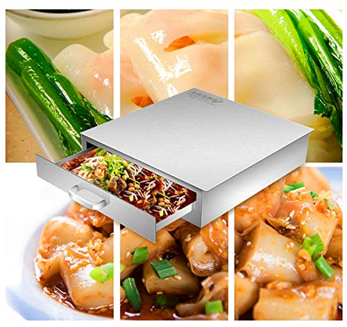 FERRISA Rice Noodle Rolls Machine,430 Stainless Steel Steamed Vermicelli Roll Steamer Machine,Chinese Cantonese Cuisine Household,Guangdong Recipes Cookware Kitchen Food Spare Cooker Baking Container by FERRISA (Image #1)