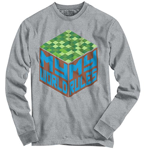 Brisco Brands My World Rules Mine Craft Shirt Funny PC Gamer Gift Idea Cute Youth Long - Shirt Craft