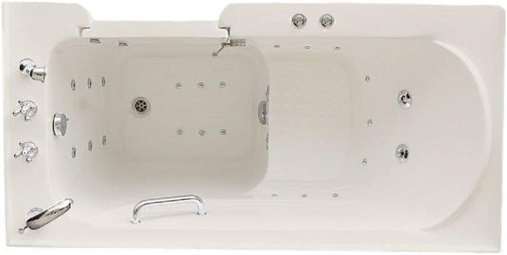 """Signature Bath LPI4730-C-RD Walkin Air Injection and Whirlpool Bathtub with Right Drain and Door, 47"""" x 30"""" x 38"""", White"""