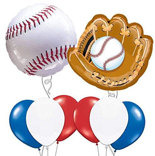Custom, Fun & Cool 8 Pack of Helium & Air Inflatable Mylar/Latex Balloons w/ Athletic Sports Baseball & Baseball Glove Birthday Design [Variety Assorted Multicolor in Red, White, Blue. Black & Brown]]()