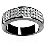 925 Sterling Silver Women Engagement Ring and Wedding Band Cubic Zirconia Three Layers Size 5