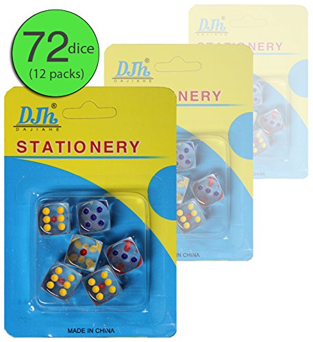 Set of 72 - Clear Transparent Dice 16 MM - Fancy Dice - Casino Decorations - Casino Party - Jackpot Party Favors - Wholesale Bulk Pack (12 Packs of 6)]()