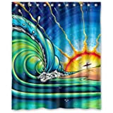 60 quot;(Width)x 72 quot;(Height) (Colorful Painting Sun Surf Art Wave South Africa) Shower Curtain