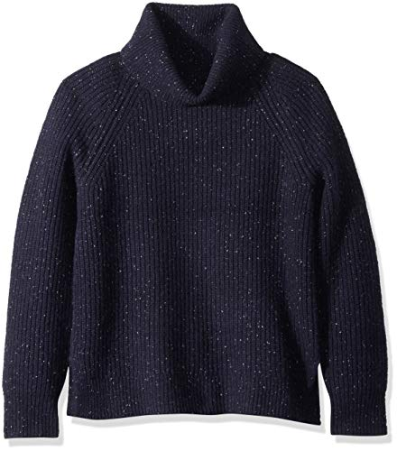 J.Crew Mercantile Women's Chunky Knit Turtleneck Sweater, Heather Navy Donegal, L ()