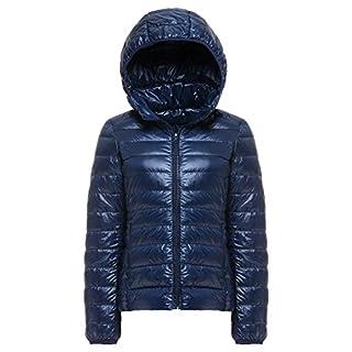 Cheerun Women's Hooded Packable Down Coat Ultra Light Weight Short Down Jacket Women Navy US L/Tag 3XL