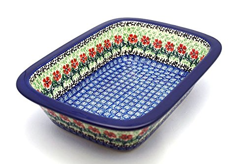 Polish Pottery Baker - Rectangular with Grip Lip - Maraschino