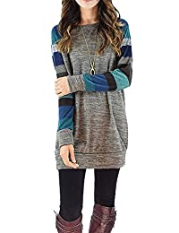 PinupArt Women's Color Block Long Sleeve Sweatshirt Cotton Jersey Tunic Tops