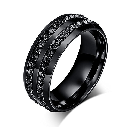 [Cosines Jewelry - Stainless Steel Black CZ Band Ring Men Women Fashion Party Size 10] (Good Guy Duo Costumes)