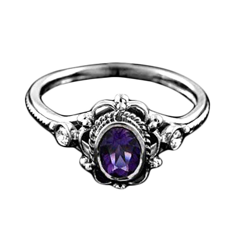 Wintefei Artificial Amethyst Ruby Antique Anniversary Gift Women Engagement Ring Jewelry - Purple US 7