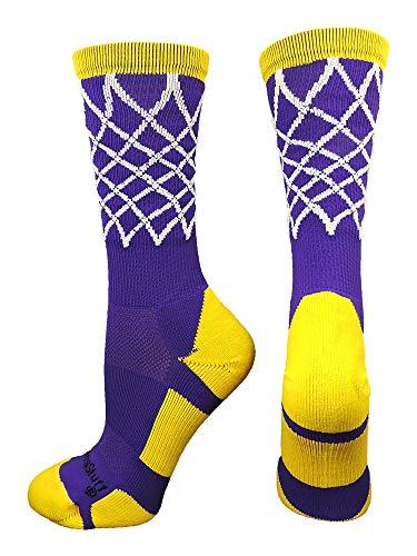 MadSportsStuff Crew Length Elite Basketball Socks with Net (Purple/Gold, Small)