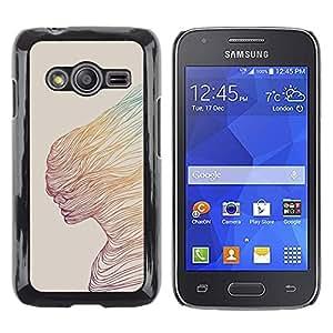 Caucho caso de Shell duro de la cubierta de accesorios de protección BY RAYDREAMMM - Samsung Galaxy Ace 4 G313 SM-G313F - Abstract Woman Teal Yellow Art