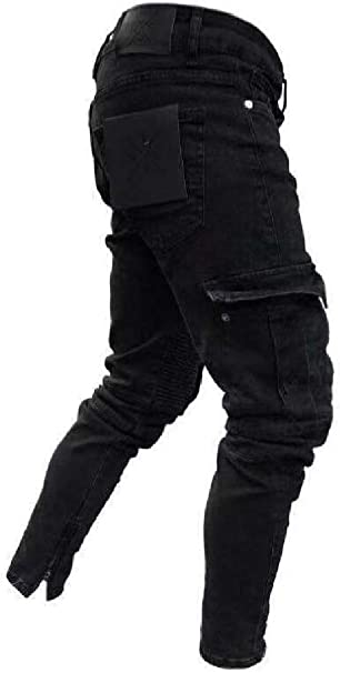 KLJR Men Slimming Elastic Waist Straight Leg Ripped Denim Pants