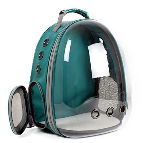 Keedo Pet Cat Dog Puppy Carrier Travel Bag Space Capsule Transparent Backpack Breathable 360 Sightseeing Airline Approved (Green)