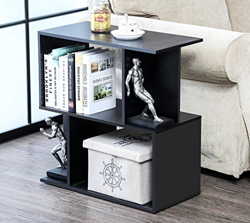 Homury Wood Accent End Side Bedside Table Coffee Table Nightstand Printer Stand Bookshelf Storage Shelf Organizer Cabinet,Black (End Storage Media Table)