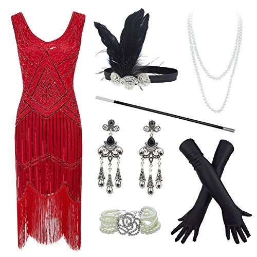 20s Flapper Gatsby Sequin Beaded Evening Cocktail Dress with Accessories Set (Medium, Red) -