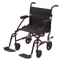 "Drive Medical Fly Lite Ultra Lightweight Transport Wheelchair, 19"", Red Frame"