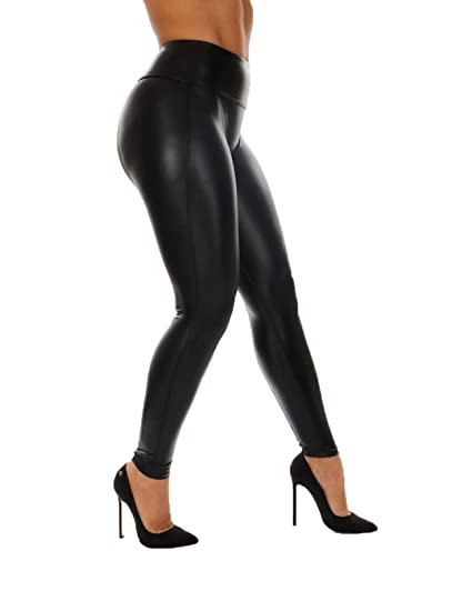 c28df57af98d9 Asrlet Women's Sexy Stretchy High Waist Pencil Pants Skinny PU Leather  Leggings Trousers (Tag S