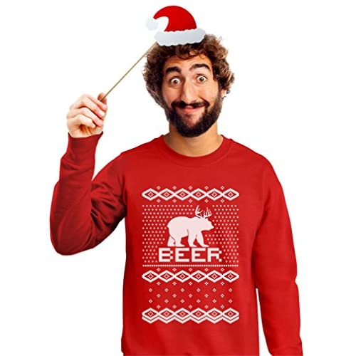 on sale bear deer beer ugly christmas sweater funny sweatshirt with xmas prop - Funny Ugly Christmas Sweaters For Sale