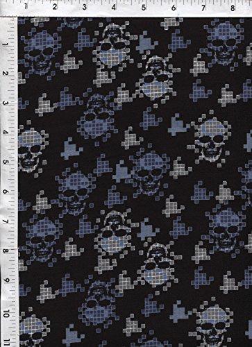 (Digital Skulls Crossbones Blue Sheeting Fabric)