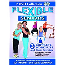 Flexible Seniors - 2 DVD Set with 3 Complete Workouts, Chair Exercises, Beginners Workout, Stretch Workout, Cardio Workout to Lose Weight, Build Muscles & Strengthen Bones