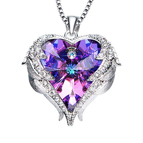 - NEWNOVE Heart of Ocean Pendant Necklaces for Women Crystals from Swarovski (A_Purple(S925 Silver))