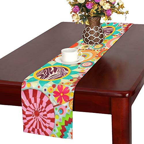 WBSNDB Abstract Colourful Art Acrylic Art Painting Table Runner, Kitchen Dining Table Runner 16 X 72 Inch for Dinner Parties, Events, Decor