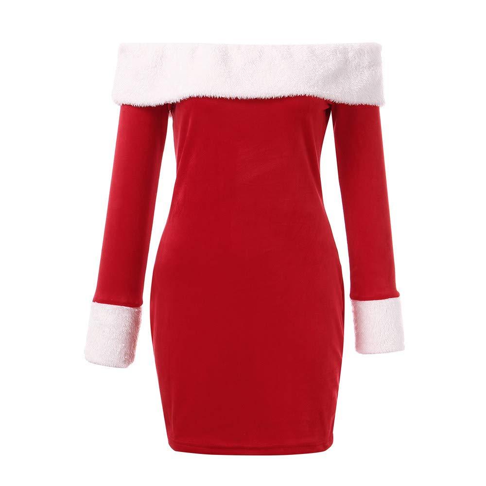Limsea 2018 Christmas Women Off Shoulder Long Sleeve Mini Dresses Santa Claus Bodycon Dresse at Amazon Womens Coats Shop