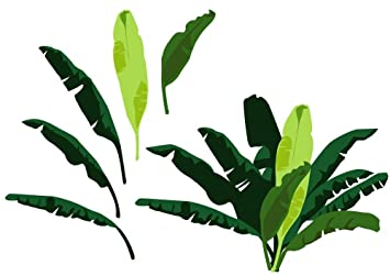 Amazoncom Wallmonkeys Banana Leaves Peel And Stick Wall Decals - Wall decals leaves
