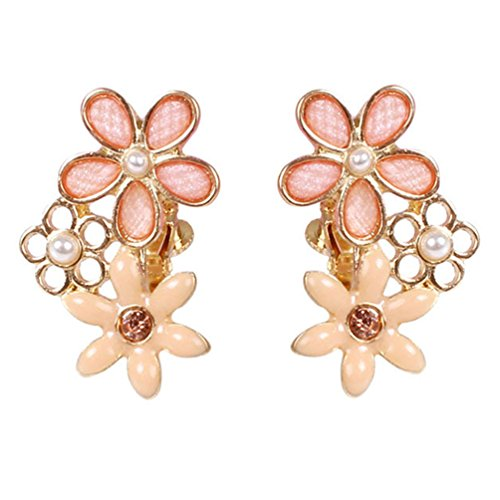 Screw Back Clip on Earring Clip for non Pierced Enamel Multi Flower Gold Plated for - Earrings Clip Rhinestone Screw