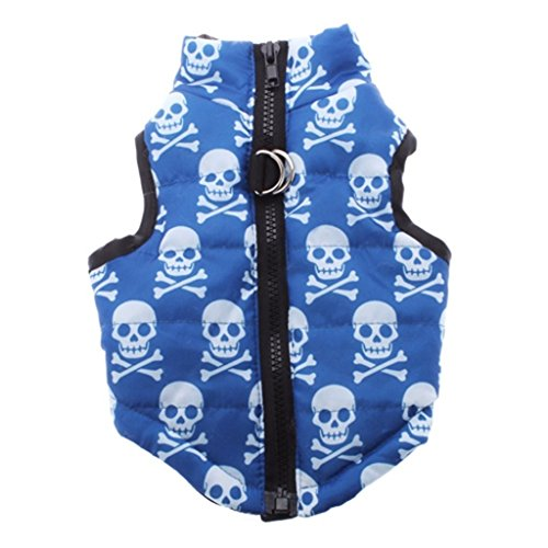 DIGOOD Medium Small Dog Cat Skull Print Waistcoat Pet Puppy Keep Warm Sleeveless Jacket Thick Clothes (Blue, (Baby Rib Sleeveless Hoody)