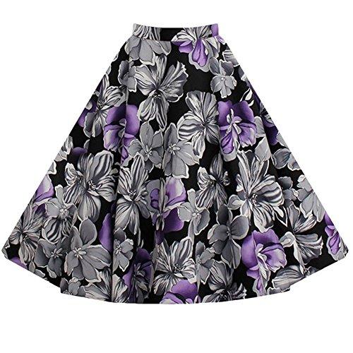 Moollyfox De Las Mujeres La Vendimia 1950 Impreso Faldas Cortas Violet