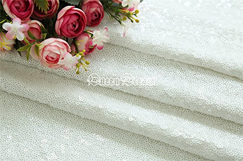 QueenDream white sequin fabric 4 Yards white Christmas sequin fabric sequins tablecloth long sequin tablecloth DIY party dress Fabric